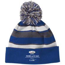 Load image into Gallery viewer, 223835 Holloway Striped Beanie with Pom with white embroidery