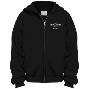 PC90YZH Port & Co. Youth Full Zip Hoodie with white embroidery