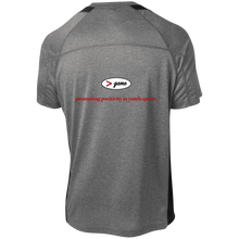 Load image into Gallery viewer, YST361 Sport-Tek Youth Colorblock Performance T-Shirt.  Click to view in gray and red or gray and black.