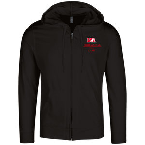 DT1100 District Lightweight Full Zip Hoodie.  Click to view in black or gray.