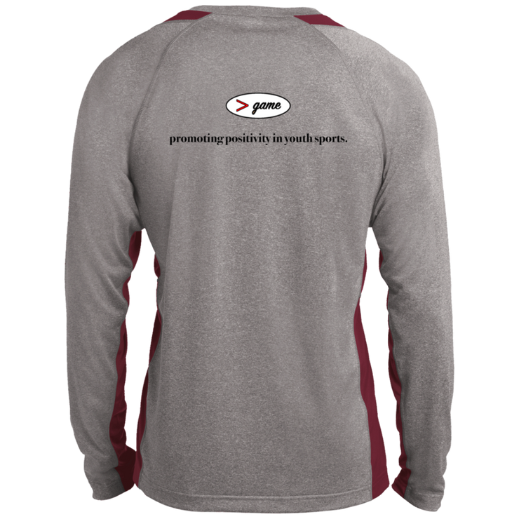 ST361LS Sport-Tek LS Heather Colorblock Poly T-Shirt