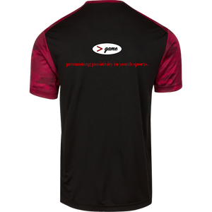 ST371 Sport-Tek CamoHex Colorblock T-Shirt.  Click to view in black and red or black and gray.