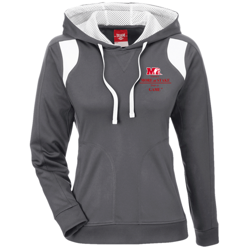 TT30W Team 365 Ladies' Colorblock Poly Hoodie.  Click to view in gray or black.