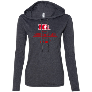 887L Anvil Ladies' LS T-Shirt Hoodie.  Click to view in gray or white