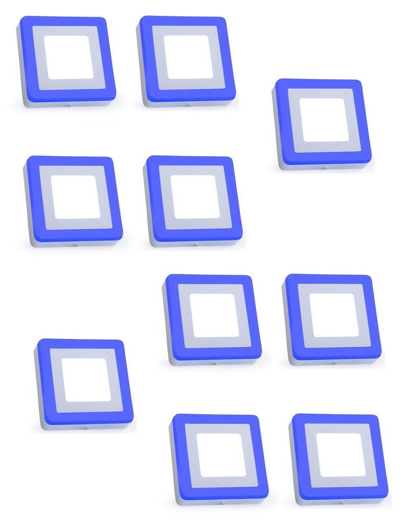 6+3 Watt Double Color Square Surface LED Panel Light Side 3D Effect Light (White & Blue,Pack Of 10)
