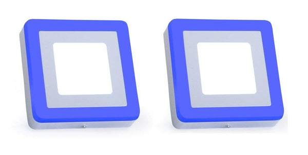 3+3 Watt Double Color Square Surface LED Panel Light Side 3D Effect Light (White & Blue,Pack Of 2)