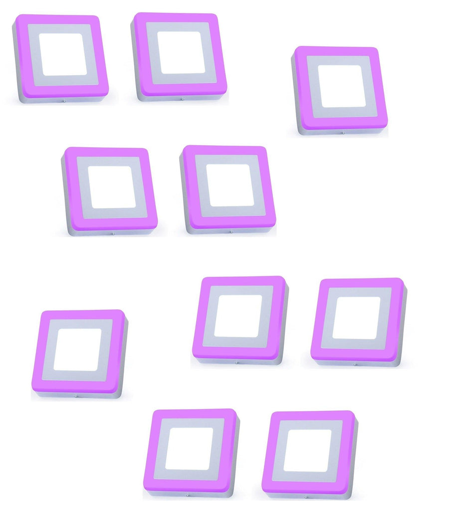 3+3 Watt Double Color Square Surface LED Panel Light Side 3D Effect Light (White & Pink,Pack Of 10)