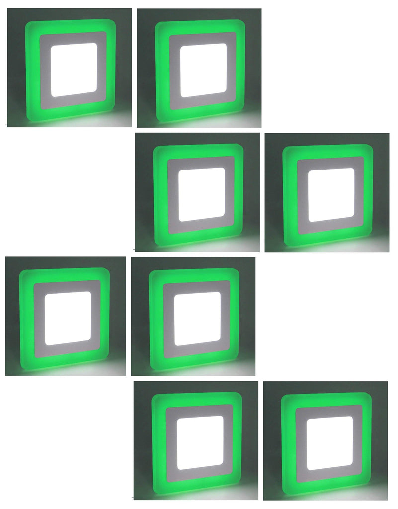 3+3 Watt Double Color Square LED Panel Light Side 3D Effect Light (White & Green,Pack Of 8)