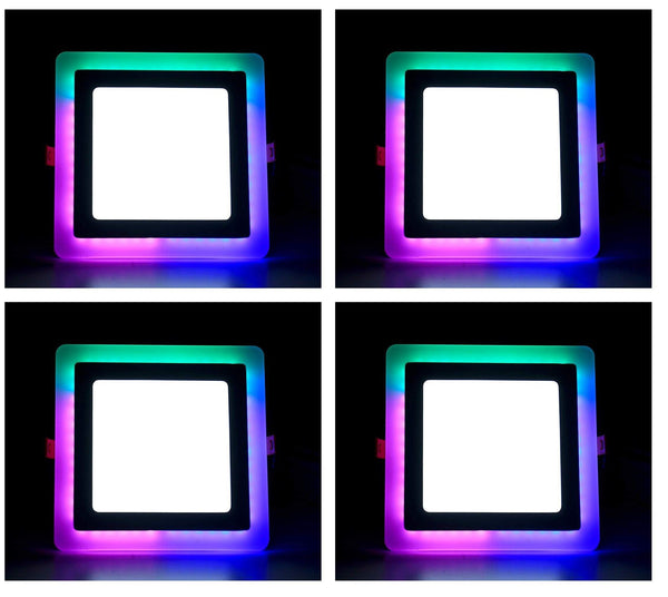 3+3 Watt Double Color Square LED Panel Light Side 3D Effect Light (White & PGB,Pack Of 4) - D'Mak India