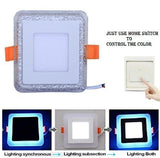3+3 Watt Double Color Jelly Square LED Panel Light Side 4D Effect Light (White & Blue,Pack Of 4)