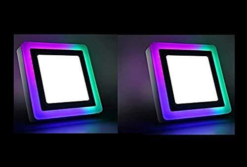 3+3 Watt Double Color Square Surface LED Panel Light Side 3D Effect Light (White & PGB,Pack Of 2)