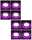 6+3 Watt Double Color Round LED Panel Light Side 3D Effect Light (White & Pink,Pack Of 08)