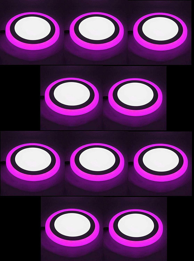 12+4 Watt Double Color Round LED Panel Light Side 3D Effect Light (White & Pink,Pack Of 10)