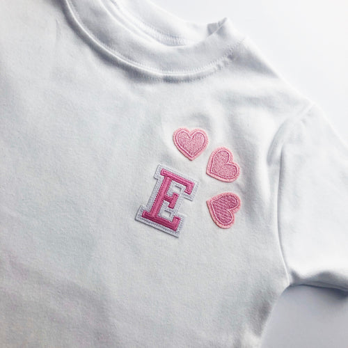 Short Sleeve Pink Initial heart Tee - That Little Outfit