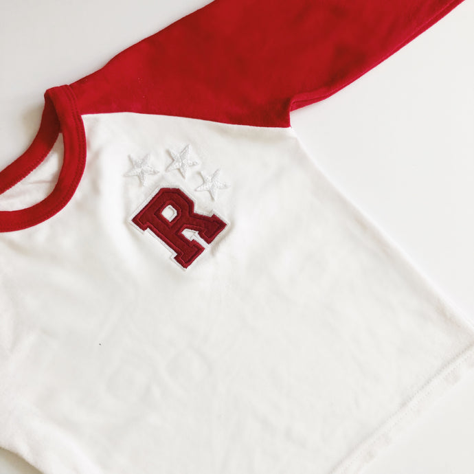 Red/White Raglan Initial Tee - That Little Outfit