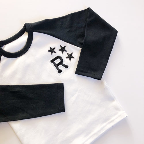 Black/White Raglan Initial Tee - That Little Outfit