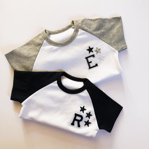 Grey/White Raglan Initial Tee/Bodysuits - That Little Outfit