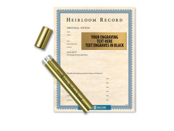 Heirloom Nameplate and Record Document