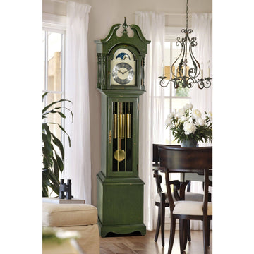 "Hermle Alexandria 80"" Green Mechanical Floor Clock"