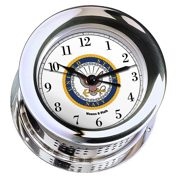 Marine Clock - Weems And Plath U.S. Navy Chrome Plated Atlantis Quartz Clock - #7 Emblem