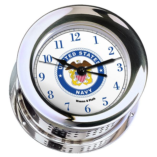 Marine Clock - Weems And Plath U.S. Navy Chrome Plated Atlantis Quartz Clock - #8 Emblem