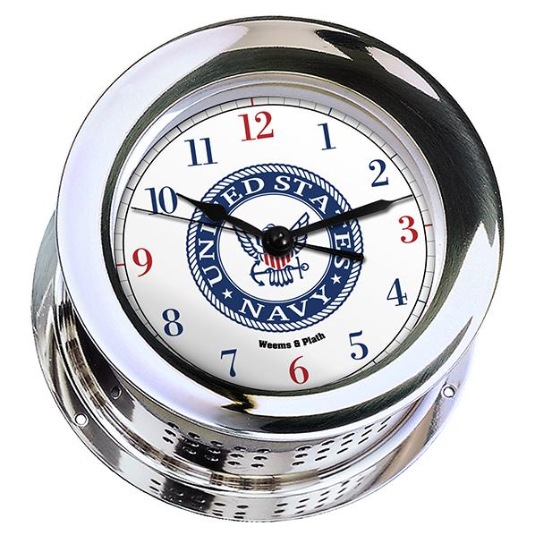 Marine Clock - Weems And Plath U.S. Navy Chrome Plated Atlantis Quartz Clock - #9 Emblem