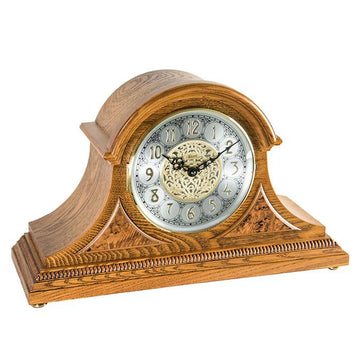 "Hermle Amelia 12"" Traditional Quartz Dual Chime Table Clock in Cherry/Light Oak"