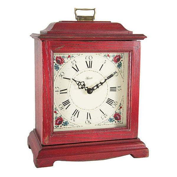 "Table Clock - Hermle Austen 13"" Mechanical Table Clock - Red"