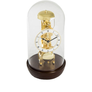 "Hermle Bronx 12"" Modern Mechanical Table Clock in Walnut/Light Cherry"