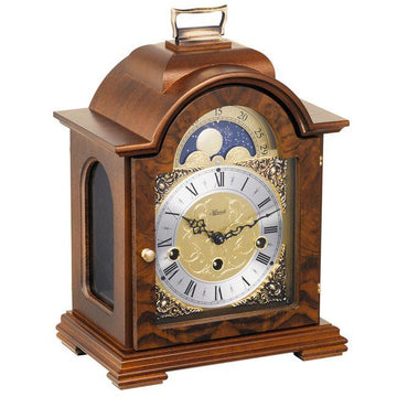 "Hermle Debden 12"" Antique Table Clock in Mahogany or Walnut"
