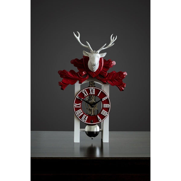 "Table Clock - Hermle Kurt 13"" White And Red Mounted Stag Table Clock"