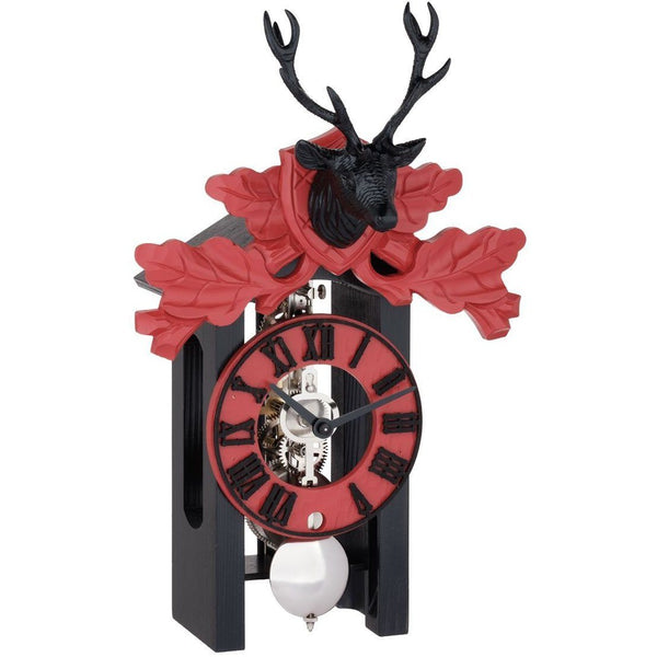 "Table Clock - Hermle Kurt II 13"" Black & Red Mounted Stag Table Clock"