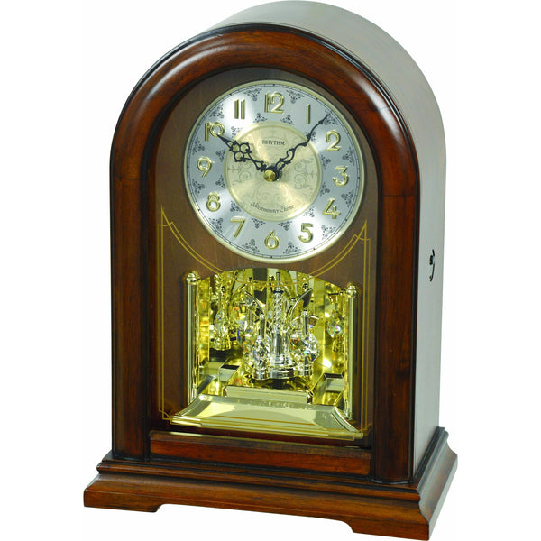 Table Clock - Rhythm Small World WSM Orlando Wooden Musical Mantel Clock