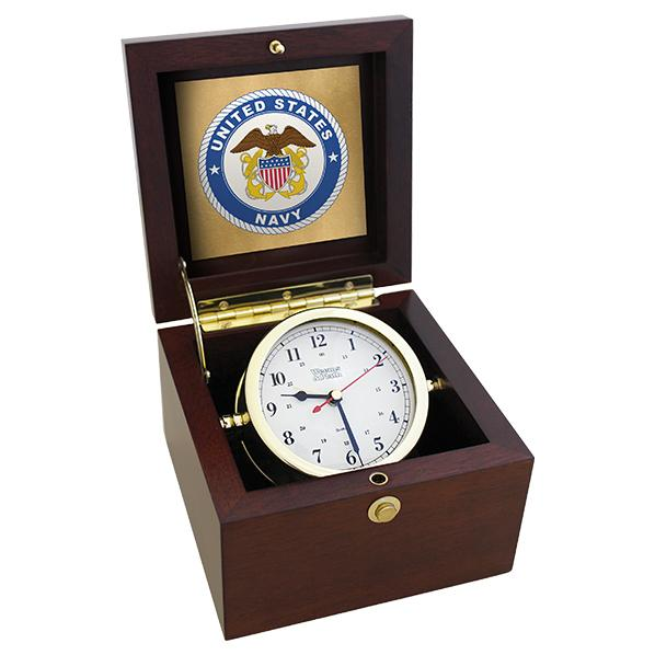 Table Clock - Weems And Plath U.S. Navy Square Box Alarm Clock - #8 Emblem
