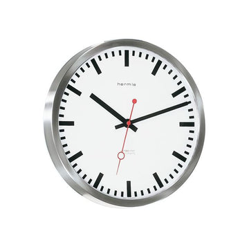 "Hermle Grand Central 12"" Stainless Steel Wall Clock"