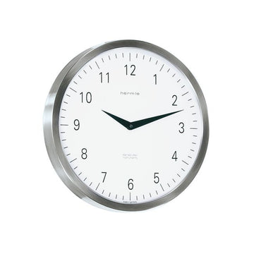 "Hermle Metropolitan 12"" Stainless Steel Wall Clock"