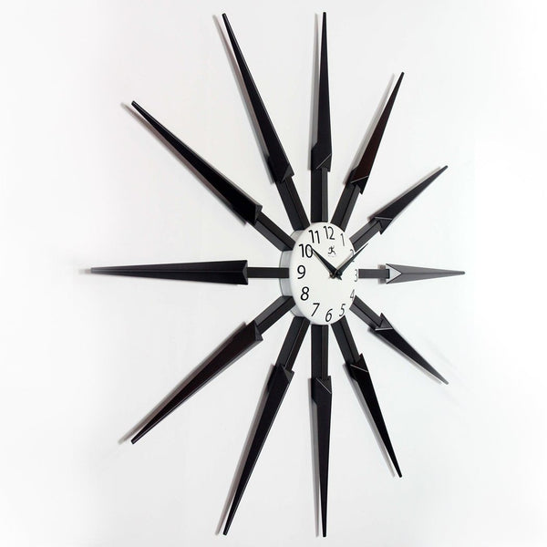 "Wall Clock - Infinity Instruments Celeste Dark Wood Finished Starburst 24"" Wall Clock"