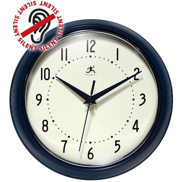 "Infinity Instruments Round Retro Aluminim 9.5"" Wall Clock"