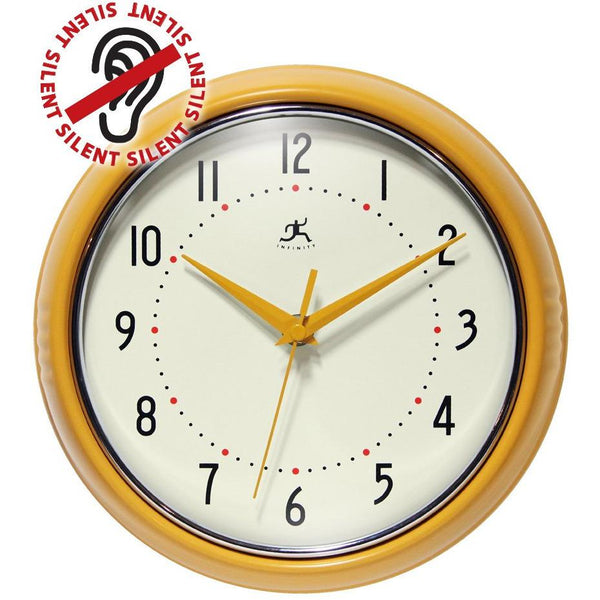 "Wall Clock - Infinity Instruments Round Retro Aluminim 9.5"" Wall Clock"