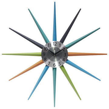 "Infinity Instruments Stellar Starburst 20"" Multicolored Modern Wall Clock"