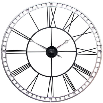 "Infinity Instruments The Tower XXL Silver & Black 39"" Wall Clock"