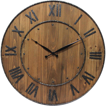 "Infinity Instruments Wine Barrel with Roman Numerals 23"" Wall Clock"