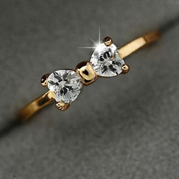 Crystal Gold Bow Finger Ring