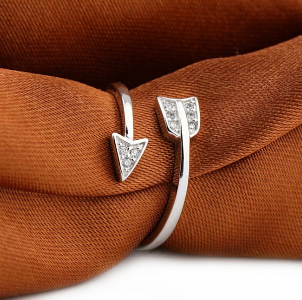 Silver Plated Crystal Arrow Adjustable Rings