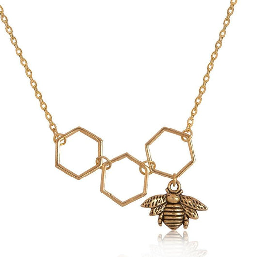 Gold Color Honeycomb Bee Long Necklace