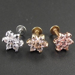 Stainless Steel Flower Lip Piercing