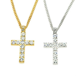 Cross Pendant With Rhinestone Necklace