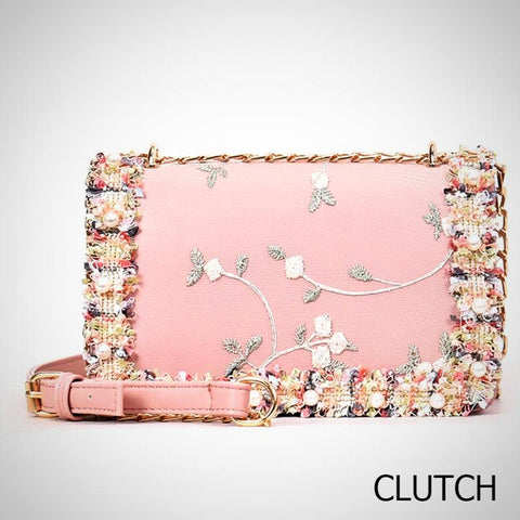 Floral Trim Leather Bag