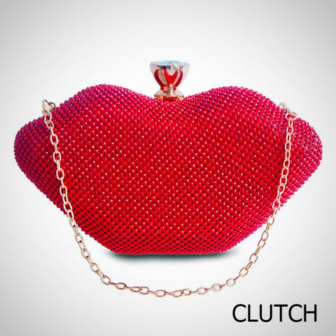 Red Lips Crystal Purse