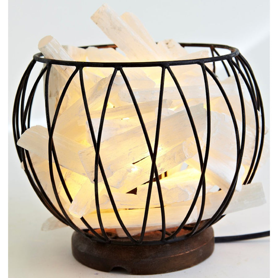 Selenite Crystal Energy Cage Lamp